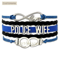 Wholesale handcuff leather bracelet - Custom-Infinity Love Police Wife Handcuffs Charm Wrap Bracelet Leo Wife Gift for Police Wifes Blue Black Suede Leather Custom