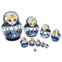 Wholesale Doll For Paint - Accessories Dolls 10Pcs set Wooden Russian Girl Hand Painted Nesting Dolls Babushka Matryoshka Gifts Hand Paint Doll Toys For Children