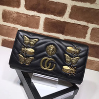 Wholesale american halloween decorations - 2017 new brand super quality female handbag high quality real leather Marmont animal shaped rivet long copper color metal decoration dinner