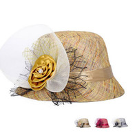 Wholesale Arriva Fashion - New arriva Spring and summer gauze big flower ladies hat in the elderly shade hat leisure linen breathable basin cap M012 with box