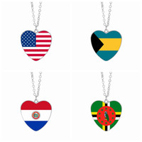 Wholesale heart cabochon glass - US Flag Pendant Necklaces 25mm Heart Glass Cabochon Bahamas Paraguay Dominica America Flags Women Jewelry Wholesale