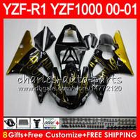 Wholesale Yamaha R1 1998 Gold - Bodywork For YAMAHA YZF1000 YZF 1000 YZFR1 00 01 98 99 74NO34 Gold flames R 1 YZF-R1000 Body YZF-R1 YZF R1 2000 2001 1998 1999 Fairing Kit