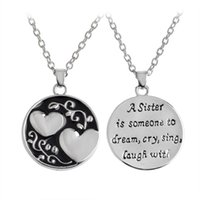 "Wholesale Laugh Necklace - ""A sister is someone to dream, cry, sing, laugh with"" Double-sided Heart Pendant Necklaces Birthday Gift for Sister friends"