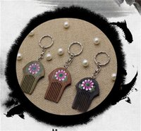 Wholesale Cheap Wood Flowers - 2017 Newly sold high quality solid comb key chain landscape flowers cheap key holder personalized engraved key ring free shipping # KW01X