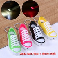 Wholesale Shock Lasers - Electric shock shoes with laser shoes key chain whole people wholehearted toys children's toys holiday gifts fool's Day hot JC152