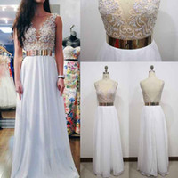 Wholesale Sequin Homecoming Dresse - HarveyBridal Luxury Hand Beading White Prom dresses 2017 Homecoming Dresse Long Sexy Backless Gold Lace Evening Dresses with Bold Sash