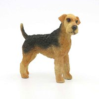Wholesale Figurine Sculpture - Cute Airedale Terrier Dog Figurine Large Standing Puppy Statue 7 inches Airedale Terrier Sculpture Hot Sale From China