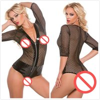Wholesale Sexy Pvc Teddy - Wild Sexy Black PVC Leather Bodysuit Temptation Fishnet Patchwork Catsuit Erotic Women See Through Hollow Out Zipper Teddies
