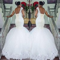 Ball Gown Wedding Dress for sale - Mermaid Lace Wedding Dresses Scoop Lace Up backless Beads Ball Gowns Beach Arabic Bridal Gowns Vestidos De Noiva Bridal Gowns Custom Made