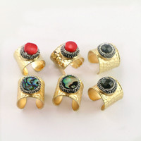 Wholesale Red Natural Coral Ring - 5Pcs Natural Coral Abalone Shell Rings,Metal Gold Color Ring, Pave Crystal Rhinestone Jewelry Finger Druzy Gem stone Ring