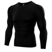 мигающие футболки оптовых-Оптовая продажа-длинный рукав мужчины Майка сжатия базовый слой узкие топы под кожей футболки тройники