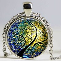 Wholesale Willow Trees - Wind and Sun Pendant, Willow Tree Jewelry, Willow Pendant Abstract Art Pendant, Willow Necklace,Christmas Gift Glass Necklace