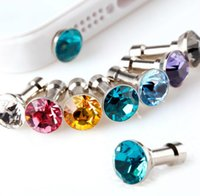 Wholesale Wholesale Cell Phone Jacks - Universal Cell Phone Anti-Dust Gadgets Dustproof plugs Rhinestone 3.5mm Earphone Jack for Smartphones