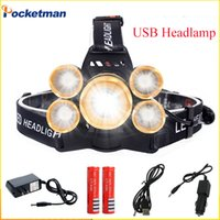 Wholesale Cree Headlight Zoomable - 16000LM CREE XML T6+4*XPE LED Headlamp 5LEDs Headlight Waterproof Lamp Zoomable Light 18650 Battery USB Charger Riding Hunting
