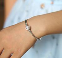 Wholesale European Bangles - 925 Sterling Silver Snake Chain Pink Enamel CZ Dahlia Flower Clip Bracelet bangles Fit European Charm Beads Authentic fine Jewelry Gift