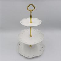 круглые дисплеи оптовых-3tier Zn сплавы круглый кекс стенд Свадьба День рождения торт стенд дисплей башня кухонные инструменты (пластины не включены)