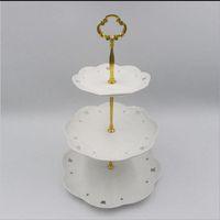 ingrosso torte di visualizzazione-3Tier ZN Leghe rotonde Cupcake Stand torta nuziale di compleanno stand torre di visualizzazione utensili da cucina (piatti NON sono inclusi)