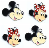 Wholesale Metal Charms Pendants Bag - New!100 pcs MINNIE MOUSE Head Disgn Cartoon Metal Charms Pendant Party Bag filler jewellery choose Design