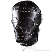 Взрослый секс Bondage Fetish Heavy Duty Studded Leather Ironman Hood Head Restraint Mask SM Dungeon Gear Sex Products