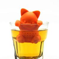 Wholesale Tea Makers Wholesale - KIT Cartoon cat tea Infuser Silicone Loose Animal Tea Leaf Strainer Herbal Spice Filter Diffuser Tea Makers Tool Kit Teaspoon