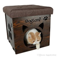 Oval oval chair - Nature Wooden Pet Cat House Cave and house Chair Cat Bedding Cute Handmade Cat Cave Kennel Beds colors