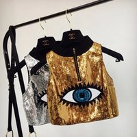 Wholesale Ladies Gold Sequin Shirt - Gold vest ladies t shirt fashion Sleeveless Sequin vest summer new printing vest
