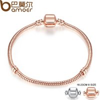 Wholesale Choice Color Rose - Pandora Style Rose Gold Color & Silver Snake Chain Bracelets DIY Bracelet Jewelry 16CM-23CM 8 Size Choice