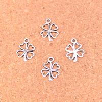 Wholesale Metal Charms Pendants Circles - 350pcs Antique silver Charms clover flower Pendant Fit Bracelets Necklace DIY Metal Jewelry Making 17*14mm