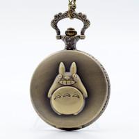 Wholesale Animate Boy - My Neighbor Totoro Japanese Animated Film Movie Totoro Dial Quartz Pocket Watch Necklace Men Women Boy Girl Pocket Fob Watch