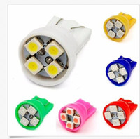Wholesale Bmw Led License Plate Lighting - 100 PCS T10 4SMD 1210 3528 Wedge Lights DC12v W5W 4LED Auto License Plate Bulbs Turn Signal Lamps 4 Smd White Wholesale