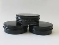 Wholesale Wholesale Glass Powder Container - 50 x 100g Black Aluminum Jar, 100cc metal jar for cream powder gel use,100ml aluminum container