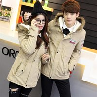 Wholesale Coat Woman Fur Inside - Wholesale- Fashion Mens Womens Korean Style Lovers Jackets And Coat Winter Warm Faux Fur Inside Jackets Patch Badge Coats For Men And Women