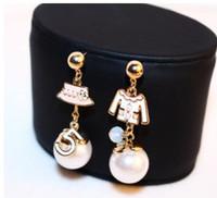 Wholesale Pearl Drop Charm - cute CC style Brand Jewellery Women Earrings Number 5 Cap Asymmetrical ABS Pearl Drop Earrings Dangle Long Earings
