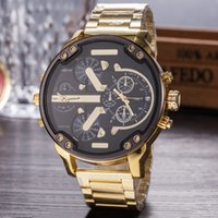 Wholesale Display For Watch Bands - Sports Mens Watches Big Dial Display Top Brand Luxury watch Quartz Watch Steel Band 7333 Fashion Wristwatches For Men 7315