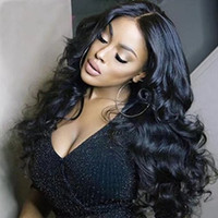 chino pelucas de cabello virgen al por mayor-Parte central peluca ondulada humana peluca natural del pelo del bebé sin cola llena del cordón peluca china del pelo humano del frente del cordón pelucas para mujeres negras