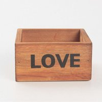 Wholesale Natural Flower Pots - Rustic Natural Wooden LOVE Letter Succulent Plant Flower Bed Pot Box Home Garden Planter Free Shipping ZA4121