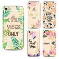 Wholesale paint abs plastic - For iPhone 5S 6S 7 Plus fashion cartoon Blooming flowers painting Cases Soft ultra thin TPU Back shell Cover 2017 hot sale cell phone cases
