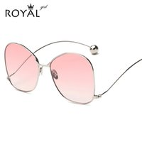 Wholesale Curved Sunglasses - Wholesale-ROYAL GIRL Fashion Personality Women Curved Leg Sunglasses Vintage Round Metal Frame Women Men Glasses UV400 Protection ss908