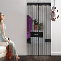 Wholesale black color x210cm anti mosquito and insect magnetic screen door net with color stick bins