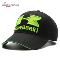 Wholesale Kawasaki Cap - Men Cotton Baseball Green Black Caps Kawasaki K Embroidery F1 Racing Outdoor Sports Snapback Car Motorcycle Sun Cap Hats Moto Snapbacks