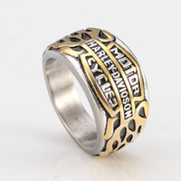 Wholesale men's jewelry - Hot fashion domineering personality retro punk ring ring Harley titanium steel jewelry