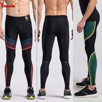 Wholesale Mens Running Clothing - Wholesale- 2017 Mens running pants basketball Tights Compression running leggings sports trousers pants Gym Sports bottoms running clothes