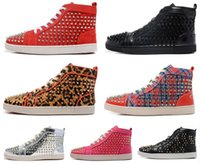 Wholesale Cheapest For Shoes - 2017 hot sale The Cheapest red bottom sneakers for men Metal decoration Spikes red suede fashion casual mens shoes,