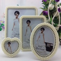 Wholesale Photo Frame Types - Top Sale!! Beautiful White Photos Frame Wedding Bridal Crystal Pearl Beaded For Wedding Decoration Home Photos Frames Wedding Suppliers