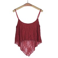 Wholesale Top 15 Sexy Woman - Wholesale- Mar 15 Amazing Solid Color Red Sexy Women Loose Lace Sling Short Crop Tops Vest Summer Style