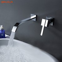 BAKALA Waterfall Widespread Contemporary Bathroom Sink Sanitary Wall Mount Faucet Mixer Tap (acabamento cromado) LT-322