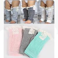 Wholesale Baby Lace Leg Warmer - Baby Toddler Knitted Leg Warmer Leg Warmers Socks Button Crochet Knit Boot Covers Leggings Kids Girl Lace Cuffs Fall Spring Socks 24cm*7.5cm