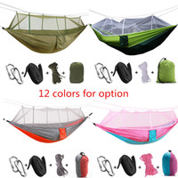 Wholesale Ultralight Kits - Outdoor Ultralight Portable Camping Hiking Parachute Nylon Hammock With Mosquito Net Hammocks Hanging Bed Travel Kits Hanging Bed