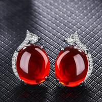 Wholesale Corundum Crystals - Fashion Red Corundum Gemstone Platinum Plated earrings Elegant Synthetic Ruby earrings for Women Vintage Crystal Jewelry For Girls 2 Colors