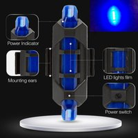 Wholesale Blue Bicycle Safety Warning Light - Wholesale Bicycle Front Tail Safety Warning Light Bike Cycling Warning Lamp Waterproof Rechargeable USB Riding Light 5-LED 4 Modes Red Blue